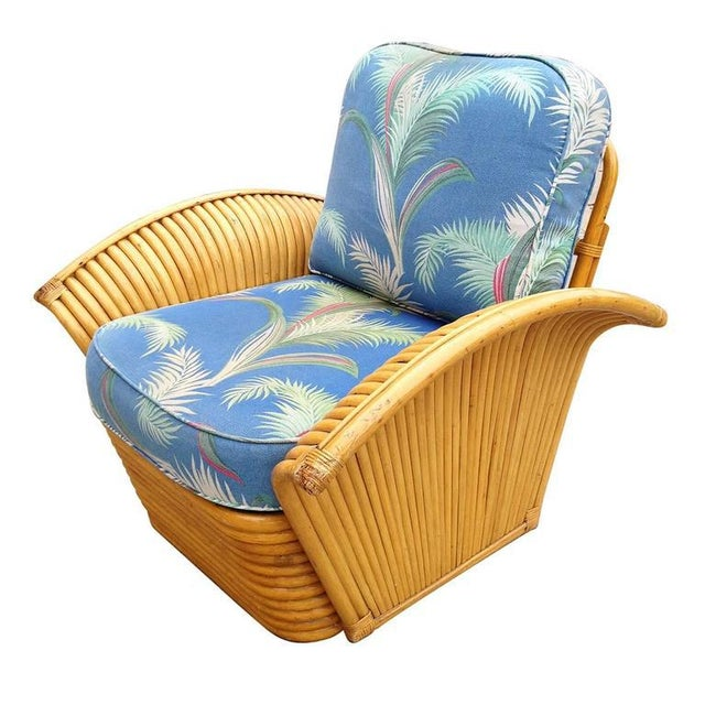 Restored Art Deco Rattan Fan Arm Lounge Chair with Ottoman - Image 4 of 7