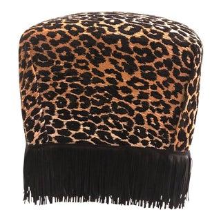 Modern Upholstered Chenille Animal Print Black Fringe Stool For Sale