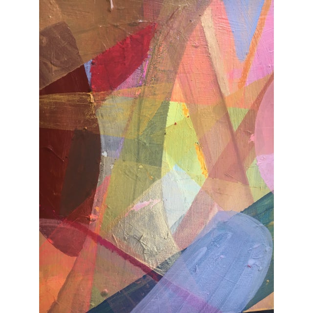 Colorful abstract acrylic on a cradled birch wood panel