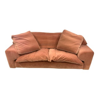 Roche Bobois Pink Velvet Upholstered Loveseat For Sale
