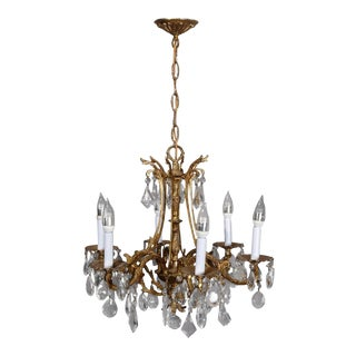 Vintage French Louis XIV Style Gilt Bronze and Crystal Chandelier, 20th Century For Sale