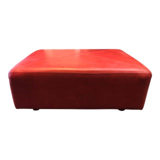 Custom Red Leather Ottoman For Sale