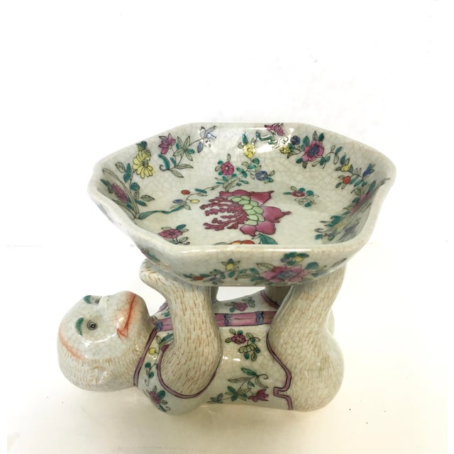 Whimsical porcelain Chinoiserie monkey dish. He perfect for your desk to hold business cards, as a soap dish, a candle......