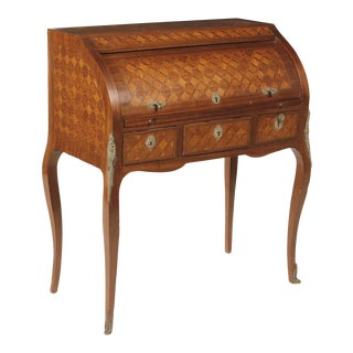 Early 20th Century Louis XV/XVI Transitional Style Parquetry Inlaid Walnut Cylinder Desk For Sale