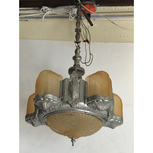 Art Deco Metal and Gold Frosted Glass Chandelier For Sale - Image 11 of 11