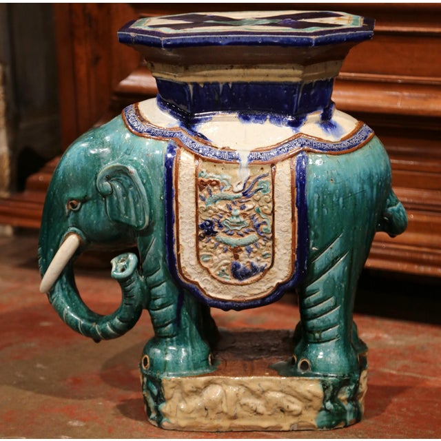 Ceramic Early 20th Century French Faience Hand Painted Elephant Garden Seat For Sale - Image 7 of 11