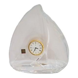 Vintage Hoya Crystal Art Glass Sailboat Quartz Clock For Sale