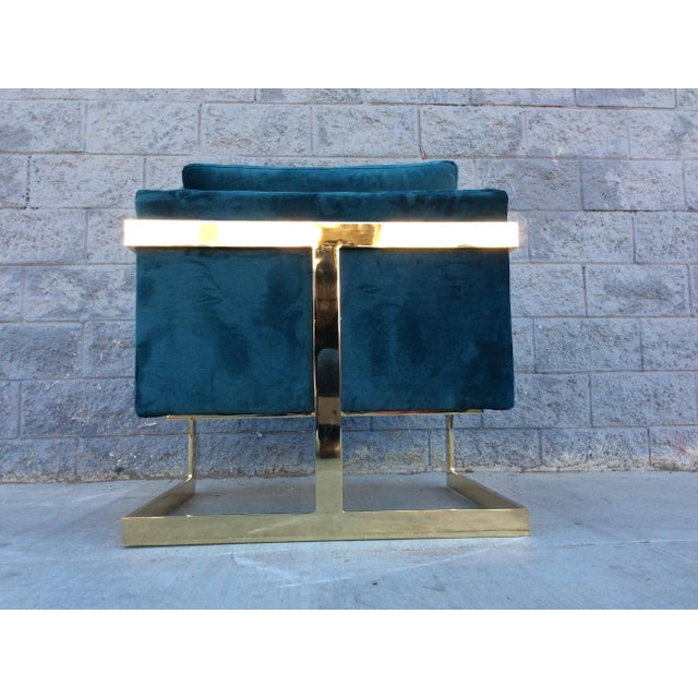 Milo Baughman Style Brass Velvet Lounge Chair For Sale - Image 5 of 5
