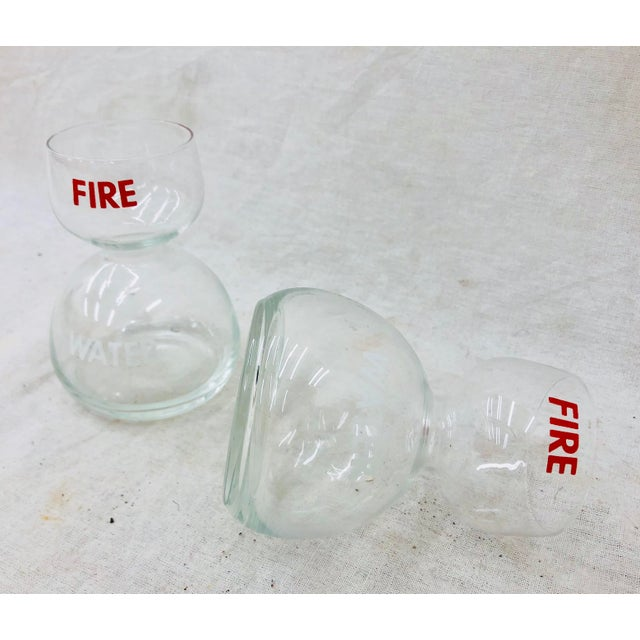 """Pair Stunning Vintage Mid Century Red & White """" FIRE WATER """" Cocktail Glasses. Rare and special, these hourglass shaped..."""