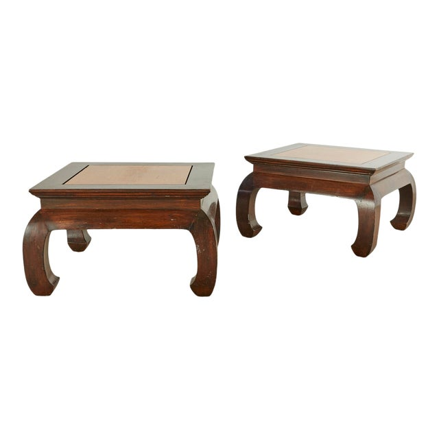 Vintage Chinese Style Mixed Woods End Stands - a Pair For Sale