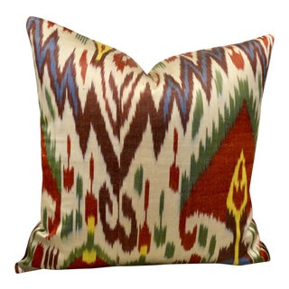 Multi-Colored Silk Ikat Throw Pillow