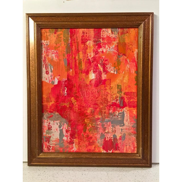 Abstract Red & Orange Painting - Image 2 of 5