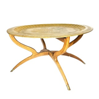 1900s Moroccan Brass Table on a Folding Spider Leg Base For Sale