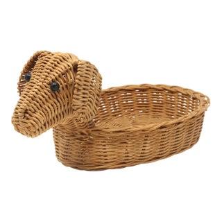 Vintage Wicker Dog Basket For Sale