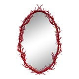 Image of 1970s Mid Century Modern Italian Red Wall Mirror For Sale