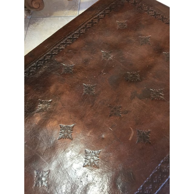 Antique Henry II Walnut & Tooled Leather Bench - Image 4 of 6
