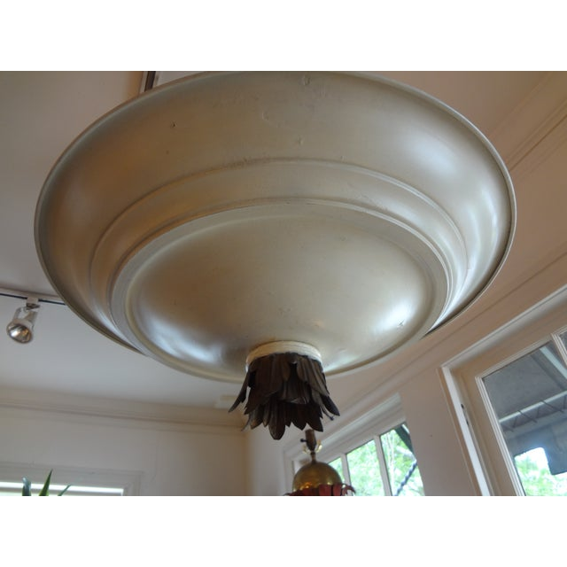 French Art Deco Tole & Bronze Chandelier - Image 4 of 7