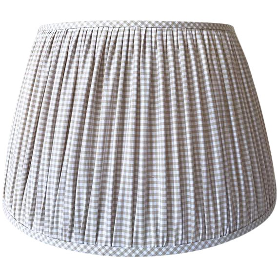 New, Made to Order, Cotton Beige Gingham,Gathered/Pleated Chandelier or Sconce Shade - Image 1 of 2
