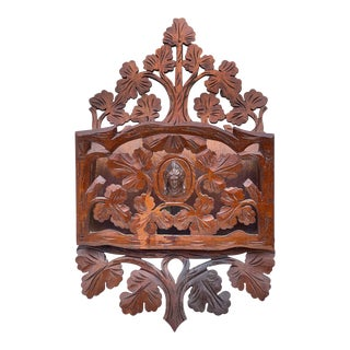 Antique Victorian Carved Walnut Foliage Wall Hanging Mail Letter Holder For Sale