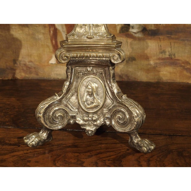 French Antique Silvered Bronze Candlestick from France, Early 1800s For Sale - Image 3 of 11