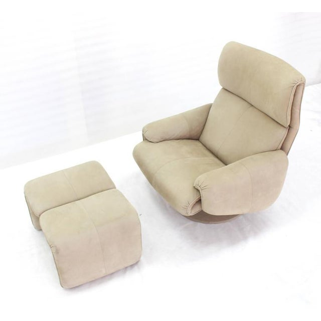 Beige Suede Leather Lounge Chair with Matching Ottoman For Sale - Image 10 of 10