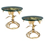 Image of Arthur Court Gilded Lily Tables - a Pair For Sale