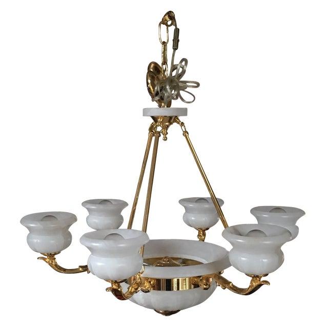 Polished Brass & Alabaster Chandelier - Image 1 of 10