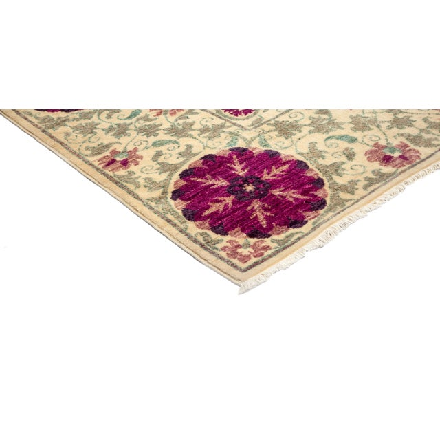 "New Hand-Knotted Suzani Pink & Tan Rug - 4'2"" X 6'2"" - Image 2 of 3"
