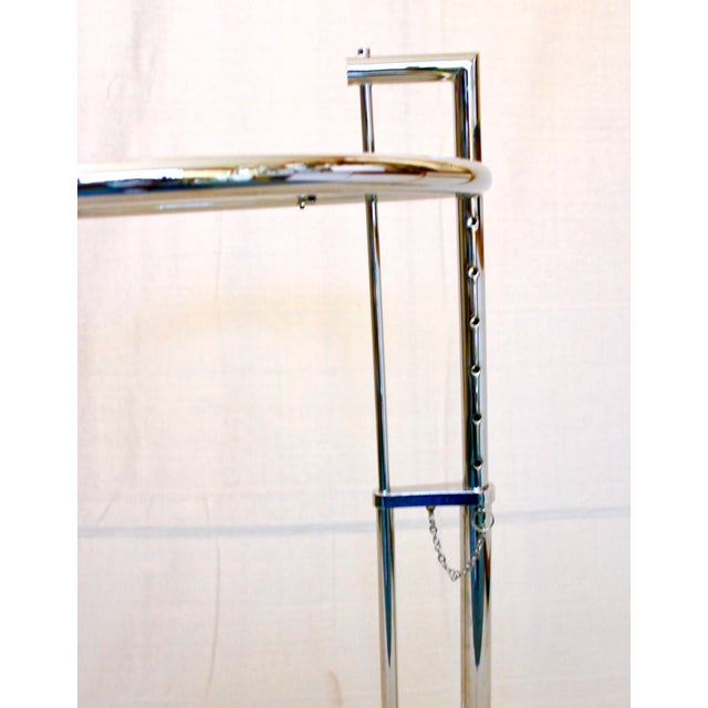 Silver 20th Century Modern Eileen Gray Chrome and Glass Adjustable Side Table For Sale - Image 8 of 10