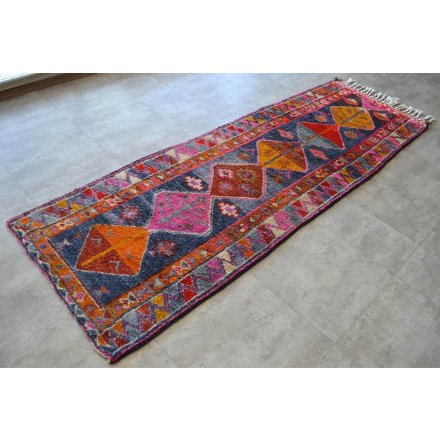 Heterodox Kurdish Runner Herki Rug. Hand-Knotted Colorful Tribal Short Runner - 3′ × 8′10″ For Sale - Image 4 of 11