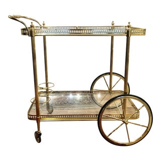 Luigi Cattaneo Brass Bar Cart in the Style of Maison Jansen For Sale