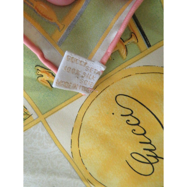 """Tan Vintage Gucci """"High Tea"""" Silk Scarf For Sale - Image 8 of 9"""