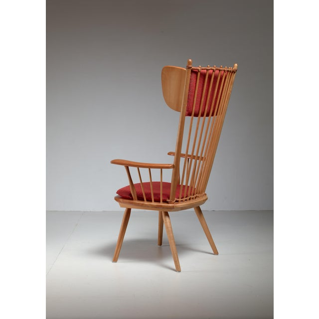 A rare high wingback edition of the architectural arts and crafts chair by Albert Haberer for Hermann Fleiner, Stuttgart,...