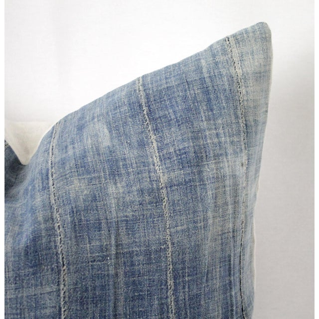 Vintage Blue Distressed Denim Pillow For Sale - Image 4 of 10
