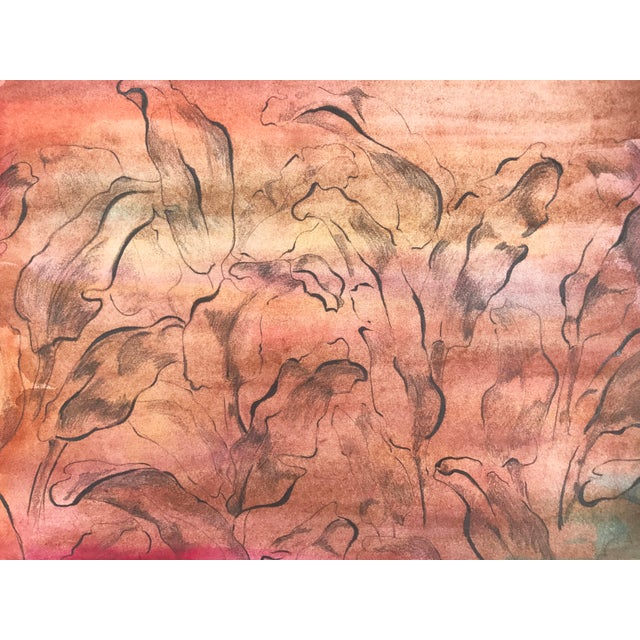 Abstract Vintage Mid-Century Modern Abstract Foliate Painting For Sale - Image 3 of 5