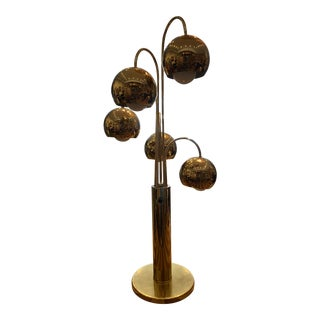 Mid-Century Modern Brass Orb Waterfall Table Lamp For Sale