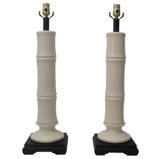 Faux Bamboo White Table Lamps With Black Lamp Shades - a Pair For Sale