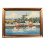 Image of Oil Painting of Sailboat Harbor Scene For Sale