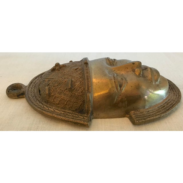 Vintage Brass African Mask For Sale - Image 9 of 11