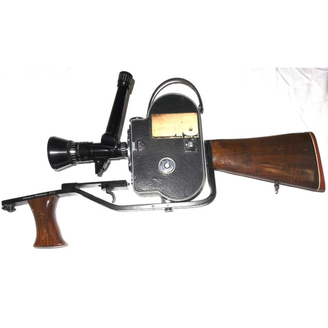Black Custom Hand Built Wood Hunting Gunstock and Fitment Carraige and Handgrip For A Bolex Movie Camera. Built By The Famous Gunsmith Dale Williams . For Sale - Image 8 of 11
