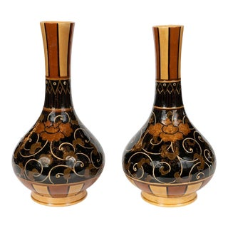 Art Nouveau 19th Century Wedgewood Marsden Vases with Foliate Designs - a Pair For Sale