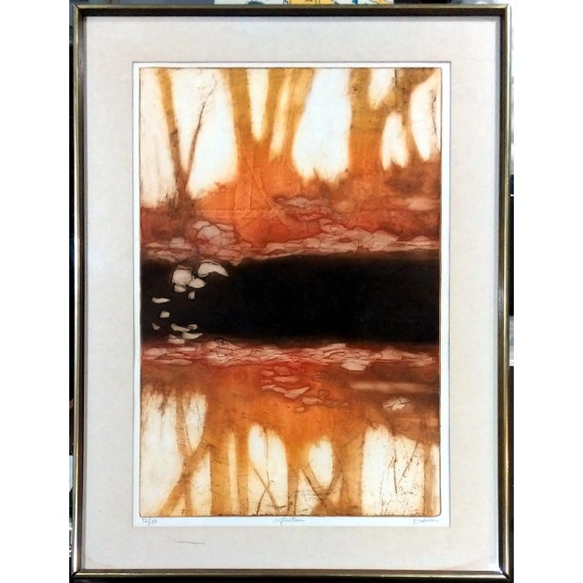 """Limited edition carborundum etching with aquatint titled """"Reflection"""", hand signed by artist Ruth Rodman. Print comes..."""