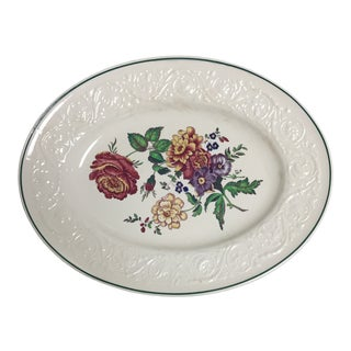 "Wedgwood Creamware Floral Decorated 16"" Oval Platter For Sale"