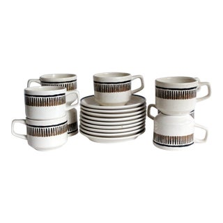Vintage Stoneware Coffee Mugs and Saucers - 18 Pc. Set For Sale
