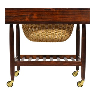 Rosewood Sewing Table or Cart by Ejvind Johansson For Sale