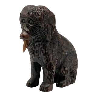 Antique French Barbet Water Dog Hand-Carved Wood Sculpture For Sale