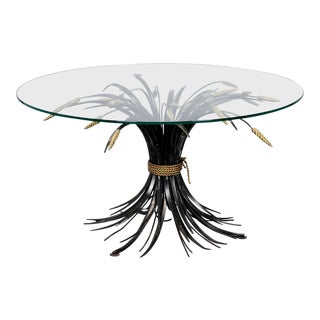 Italian Black and Gilt Wheat Sheaf Table With Glass Top For Sale