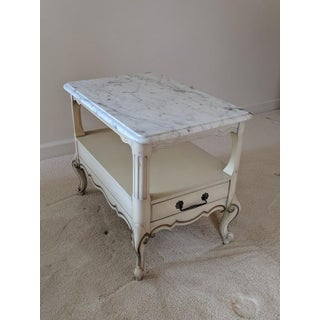 1960's French Provincial Louis XV Marble Top Side Table Preview