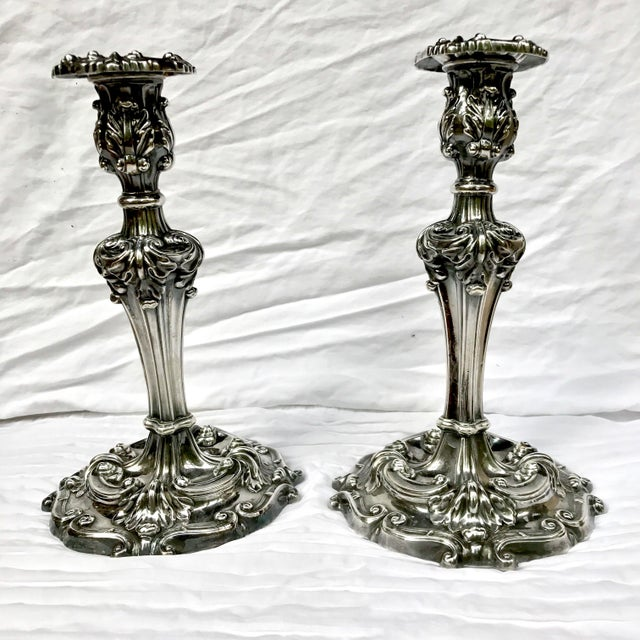 Want to channel Downton Abbey? Stunning antique Silver Plate Candlesticks by Reed & Barton in pattern #746. The pair are...