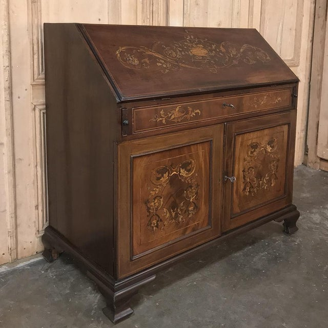 19th Century English Mahogany Marquetry Secretary is a superlative example of the genre, with exotic imported mahogany...